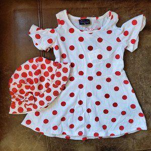 Toddler Girls Red/White Polka dot dress w/hat